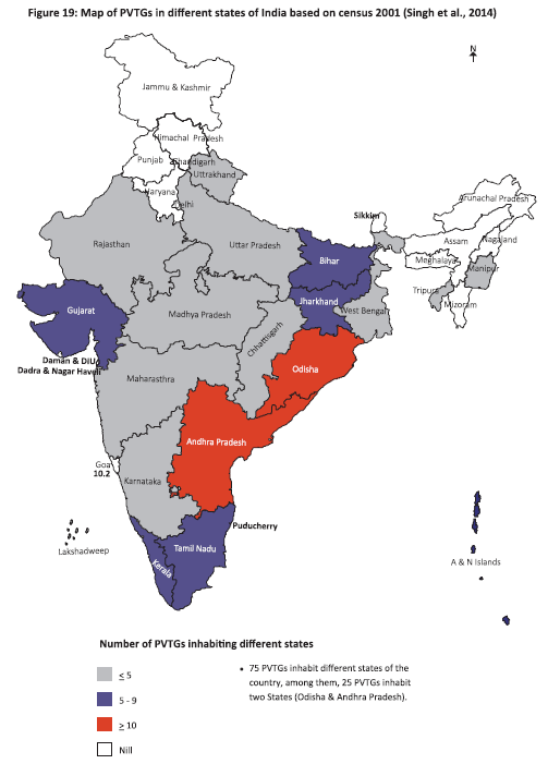 Map of PVTGs in different states of India based on census 2001